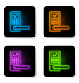 glowing neon digital door lock with wireless vector image vector image