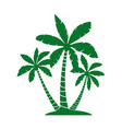 green palm trees silhouettes isolated vector image vector image