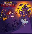 happy halloween halloween flying little witch vector image vector image