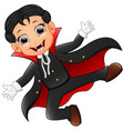 happy kid wearing dracula costume vector image