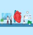 human heart health care checkup analysis vector image vector image