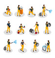 isometric auto service people set vector image vector image
