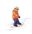 Kid on snowboard vector image
