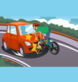kid riding a bicycle in an accident with a car vector image vector image