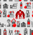 King Kong Ruined building seamless pattern