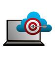 laptop cloud computing target business vector image