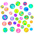 large set glossy colorful marble balls on white vector image