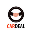logo for dealership handshake in wheel symbol vector image