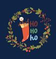 merry christmas greeting card with hohoho vector image vector image