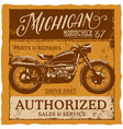 michigan vintage label typeface poster vector image vector image