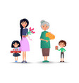 mother and grandmother with flowers and children vector image vector image