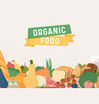 organic food banner colorful cartoon vegetables vector image