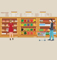 people in supermarket grocery store with fresh vector image vector image