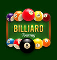 pool billiards tourney poster vector image vector image