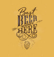 poster lettering best beer right here mustard vector image vector image