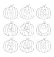 Pumpkin for Halloween Set of emotions Contours vector image