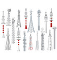 radio tower towered communication vector image vector image
