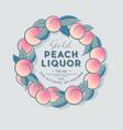 ripe peaches wreath liquor label packaging design vector image