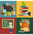 School theme set Back to school backpack schoolboy vector image