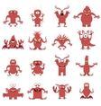 set flat moster icons vector image