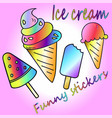 set icons of ice cream vector image vector image
