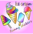 set icons of ice cream vector image