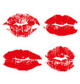 set imprint kiss red lips isolated on whites vector image
