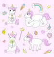 set of cute unicorn on pink background a vector image