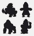 set of gorilla silhouettes cartoon with different vector image vector image