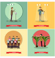set orchestra concept posters in flat vector image vector image