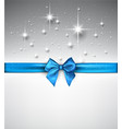 shiny holiday background with blue bow vector image vector image