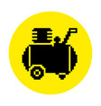 silhouette of the compressor icon in pixel style vector image