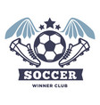 soccer winner club isolated icon with lettering vector image vector image