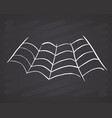 spider web hand drawn sketched web on chalkboard vector image vector image