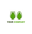 spoon and fork leaf healthy food and drink logo vector image