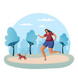 sportswoman running with dog on lead vector image vector image
