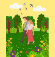 summertime scenery birds fly and flirting people vector image vector image
