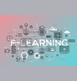 thin line flat design banner of e-learning web vector image