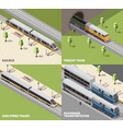 train railway isometric concept vector image
