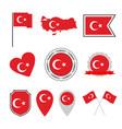 turkey flag icon set flag republic of vector image vector image