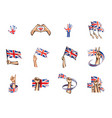 united kingdom flag and hand on white background vector image vector image