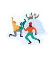 winter activities family playing snowball fight vector image vector image