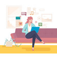 woman on couch communicates with online vector image vector image