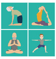 yoga positions characters class meditation people vector image vector image