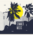 summer music modern poster with palm tree vector image