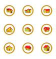 house icon set cartoon style vector image