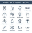 16 holiday icons vector image vector image