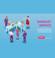 banquet service isometric banner
