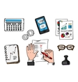 Business management and office icons vector image vector image