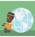 Businessman sitting near Earth globe vector image